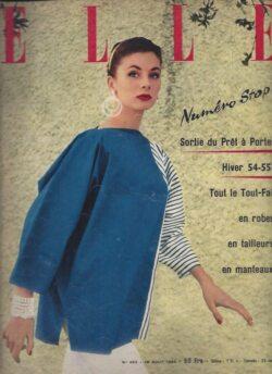 Couverture du magazine Elle du 16 aout 1954. Mannequin portant une marinière bleue.