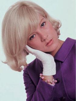 Sylvie Vartan jeune pose en tailleur mauve de sa marque de prêt-à-porter