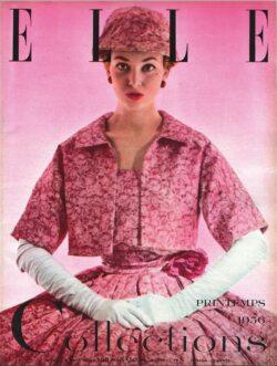 Couverture du magazine Elle montrant une femme vetue d'une robe rose de Christian Dior.